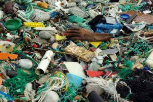 A variety of items, recyclable and not, are mixed together in a land fill site